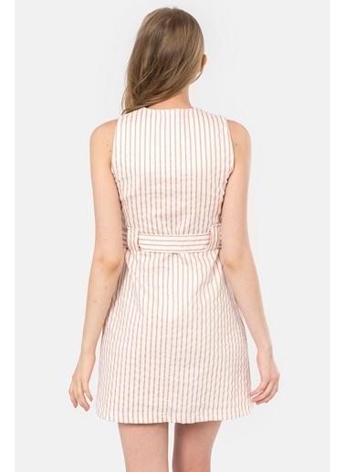 İroni Çizgili V Yaka Kolsuz Elbise Pudra
